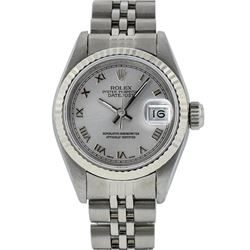 Rolex Ladies Stainless Steel Silver Roman 26MM Datejust Wristwatch