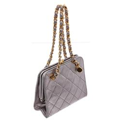 Chanel Metallic Silver Vintage Mini Quilted Lambskin Leather Kiss Lock Shoulder