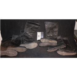 LAST AIRBENDER THE SCREEN USED WARRIOR BLACK LEATHER BOOTS LOT OF 8