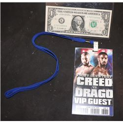 CREED VS DRAGO SCREEN USED VIP PASS 4