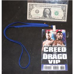 CREED VS DRAGO SCREEN USED VIP PASS 2