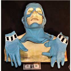 THE TICK SCREEN USED COWL MASK AND MATCHED PAIR OF GLOVE HANDS