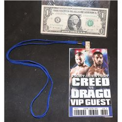 CREED VS DRAGO SCREEN USED VIP PASS 1