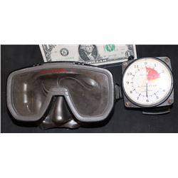 NAVY SEALS MICHAEL BIEN SCREEN USED HERO DIVE MASK AND DEPTH MEATER