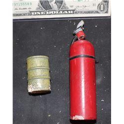 MINIATURE FIRE EXTINGUISHER AND BARREL