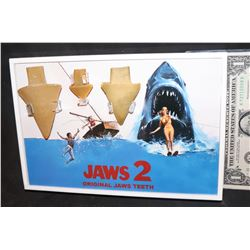 JAWS 2 SHARK TEETH 3 DIFFERENT SIZES NICELY FRAMED