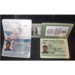 SAFE HOUSE DENZEL WASHINGTON SCREEN USED AMERICAN AND NIGERIAN PASSPORTS