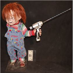 CULT OF CHUCKY ONE ARM PRODUCTION MADE STAND IN DOLL HOLDING STUNT DRILL