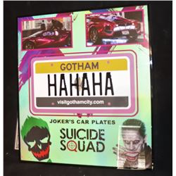 SUICIDE SQUAD SCREEN MATCHED JOKER'S CAR PLATE NICELY FRAMED