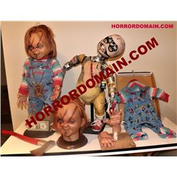 SEED OF CHUCKY SCREEN MATCHED HERO ANIMATRONIC & ARMATURED PUPPETS W/ HEART OF DAMBALA AXE ETC