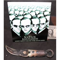 THE MATRIX RELOADED SCREEN USED AGENT SMITH F/X BLOOD RIG KNIFE