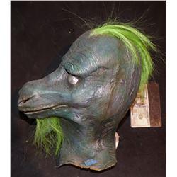 DINOSAUR PUNK FULL HEAD MASK WITH GREEN HAIR
