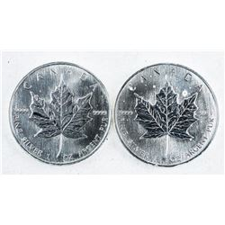 Lot (2) 2002 and 1990 Maple Leaf Coins 5.00  .999 Fine Silver 1oz Each