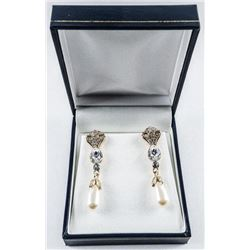 MM Custom Designer, Earrings 925 Silver with  Swarovski Elements and Tear Drop Pearls