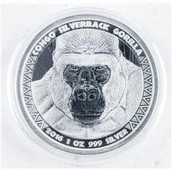 2016 5000 Francs Congo Silverback Gorilla 1oz  Coin