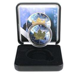 24k Gold Over .999 Fine Silver Colourized  Canada Silver Maple - Wolf.