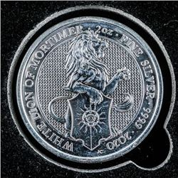 2020 - Collector Bullion 'White Lion of  Mortimer' 5 Pounds, .999 Fine Silver Coin 2oz  ASW. Collect