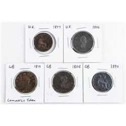 Group of (5) UK- Great Britain Coins/Tokens  1806-1890