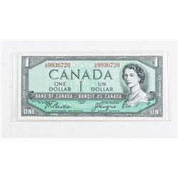Bank of Canada 1954 1.00 Modified Portrait  GEM UNC
