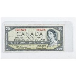 Bank of Canada 1954 20.00 Note. Devil's Face.  (VG)