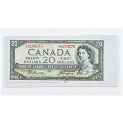 Bank of Canada 1954 20.00 Note. Devil's Face.  (F) B/C