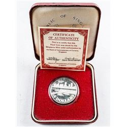 Singapore 1982 Sterling 925 Silver Proof 5  Dollars. KM22A with C.O.A.