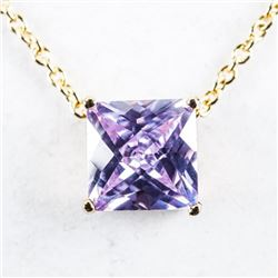 Chic Gold Plated Solitaire Necklace, Amethyst  Swarovski Elements Cushion Cut Stone
