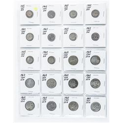 Group Canada 1968 Coins - 10 x 10 cents, 10 x  25 cents