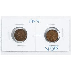 Pair 1909 US Cents: Indian Head and Lincoln  VDB