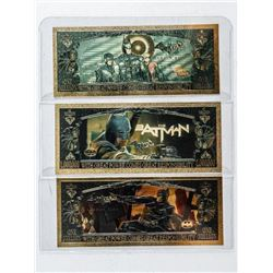 Group of (3) Batman 24kt Gold Collector Notes  in Colour