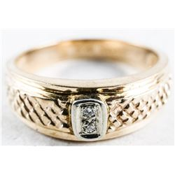 Estate - 10kt Gold Band with Diamond. Size 10  1/4