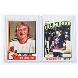 Lot (2) Estate 'Rookie Cards' (NYR) 'Rick  Middleton' and (NYI) Bryan Trottier (cxr)