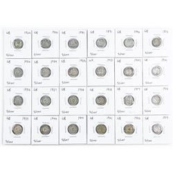 Group of (24) Great Britain Silver 3 Pence  Coins
