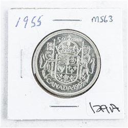 1955 Canada Silver 50 Cent MS63