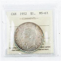 1952 Canada Silver Dollar MS63. ICCS