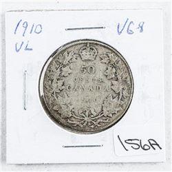 1910 VL Canada Silver 50 Cent VG8