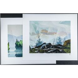 "A.J. Casson (1898-1992) 'The White Series' 2  Images 'Mist Rising' LE/ Rare #1/250 18x21""  Folio"