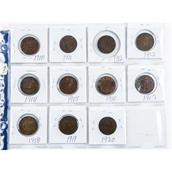 Lot (11) Canada Large Cent Coins: 1910-1920