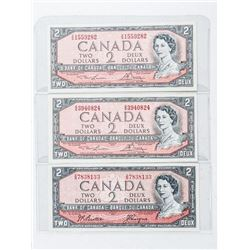 Group (3) Bank of Canada 1954 2.00 Note - 2  Signature Sets