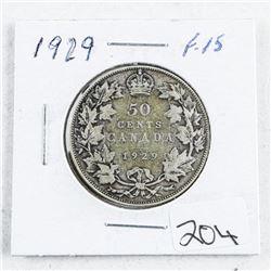 1929 Canada Silver 50 Cent F15