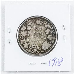 Canada George V Silver 1918 50 Cent Coin