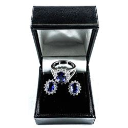 925 Silver Cluster Earrings and Ring set,  Lady Di Style Swarovski Elements
