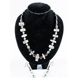 Estate - 925 Silver Necklace and Earrings Set  Rose Quartz - Onyx. 104.40ct Appraised:  $1800.00