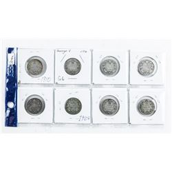 Group (8) Canada Silver 25 Cent Coins, Early  1900's