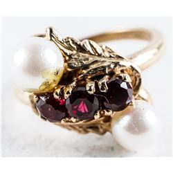 Estate - Ladies 10kt Gold Culture Pearl and  Ruby Ring. size 6