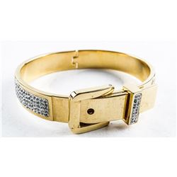 Gold Plated/Stainless Bangle Cuff Bracelet  with CZ