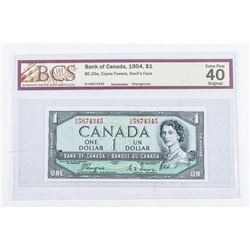 Bank of Canada 1954 1.00 Devil's Face. EF40