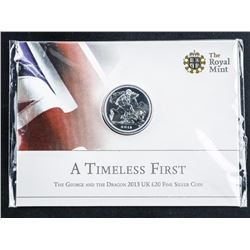 .999 Fine Silver L20 Coin 2013 UK 'The George  and The Dragon' 'BU'