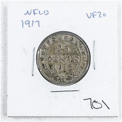1917 NFLD 25 Cent VF20