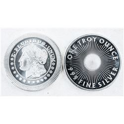 Lot (2) .999 Fine Silver Rounds 2oz ASW
